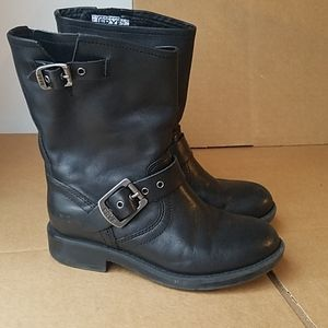 Frye black leather boots kids 12.5